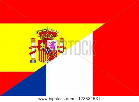 spain france neighbour countries half flag symbol