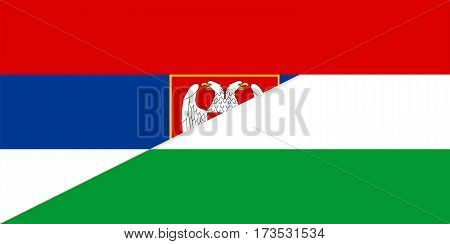 serbia hungary neighbour countries half flag symbol