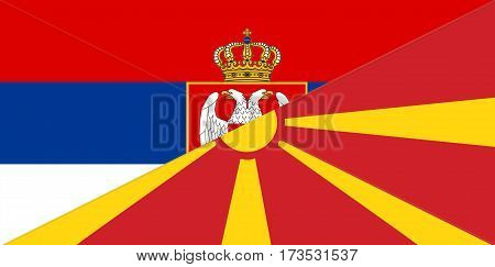 serbia macedonia neighbour countries half flag symbol