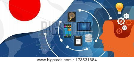 Japan IT information technology digital infrastructure connecting business data via internet network using computer software an electronic innovation vector