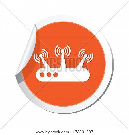 Orange sticker with router icon. Vector illustration