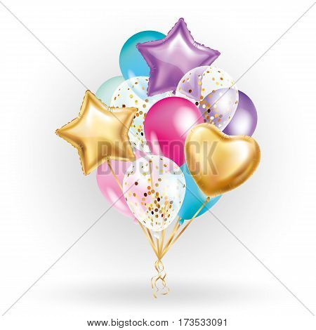 Heart star Gold balloon Bouquet. Frosted party balloons event design. Balloons isolated in the air. Party decorations for wedding, birthday, celebration, love, valentines, kids. Color transparent balloon