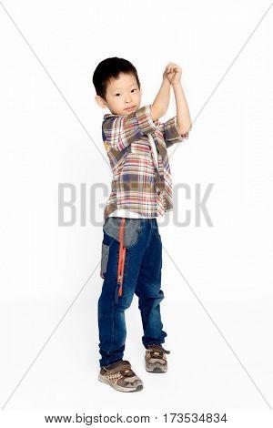 isolated naughty chinese boy on white background