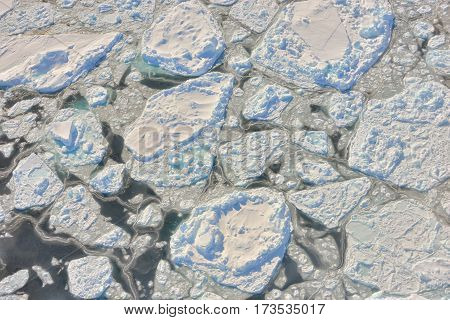 melting ice over the Greenland in spring time