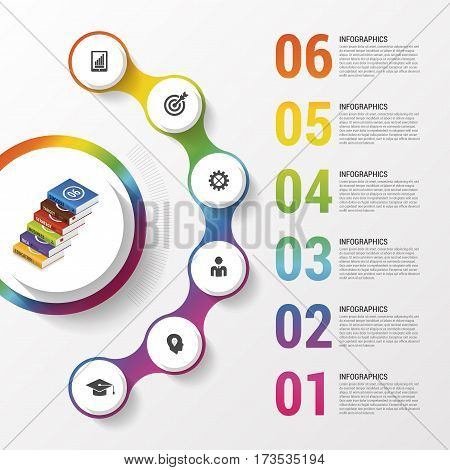 Infographic. Modern design template with books. Colorful circle with icons. Vector illustration.