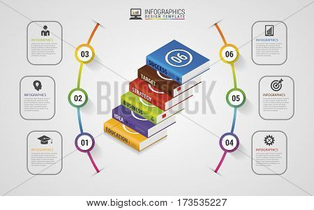 Infographics design template. Business Books. Colorful circle with icons. Vector illustration.