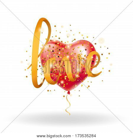 Love gold letter red heart balloon. Golden sparkles background. Happy valentines day. I love you. Gold background for greeting card, sign, banner, invitation. Shine calligraphy text, type, lettering.