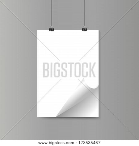 Empty isolated realistic vertical paper poster with curled corner on grey wall with paper clips. Vector illustration. Mock up.