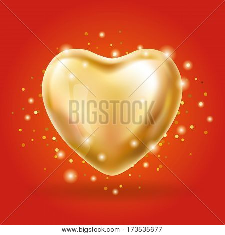 Heart Gold balloon on redbackground. party balloons event design. Balloons isolated in the air. Party decorations wedding, birthday, celebration, love, valentines. Shine transparent balloon