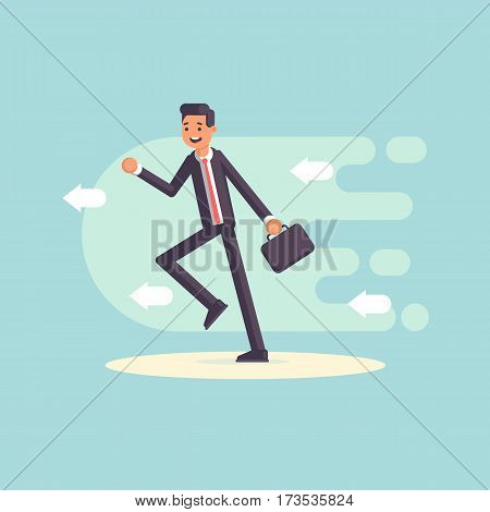 Cheerful businessman running forward. A man in a suit hurrying to work flat vector illustration. Business concept