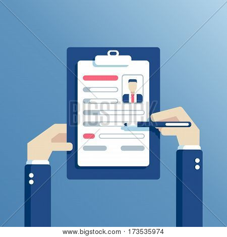 Clipboard with resume form in the hands. Man fills in questionnaire. Writing business resume on job flat style vector illustration. Business concept of employment