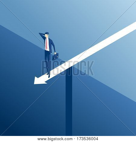 Isometric businessman standing on an arrow over the abyss business concept stalemate and embarrassing situation