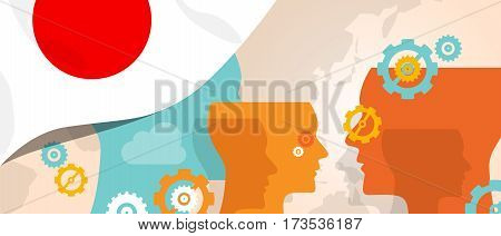 Japan concept of thinking growing innovation discuss country future brain storming under different view represented with heads gears and flag vector