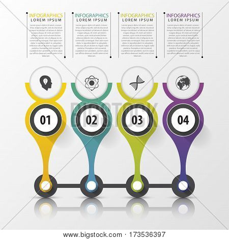 Timeline infographics design template with numbers. Modern concept. Vector illustration.