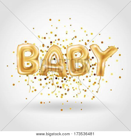 Gold letter baby balloons. Birthday gold characters balloons. For celebration, party, date, invitation, event card, happy Birthday. Shine glossy metallic balloons background. Baby shower. One birthday