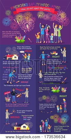 Fireworks safety infographic. Instruction how do not spoil the party. Practical guide to safety. Check again any damages that may have occur. Right and wrong statements how to display firework. Vector