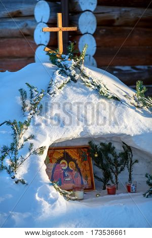 VISIM/ RUSSIA - JANUARY 9, 2017. Russian traditional nativity scene built inside of snow pile for Christmas celebration. Village Visim, Sverdlovsk region, Russia.