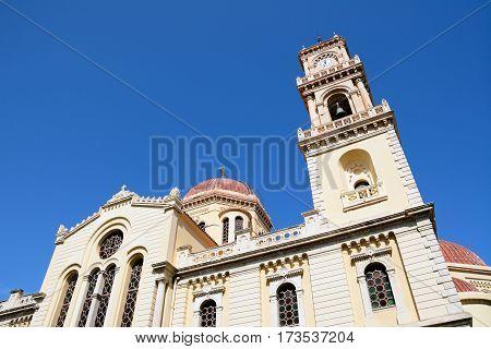 View of Saint Minas Cathedral Heraklion Crete Greece Europe.