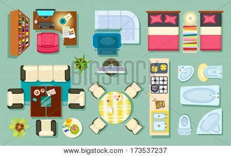 Flat interior top view. Living room, bathroom, bedroom. kitchen, office room. Modern furniture in isometric style. Pieces of furniture and household utensils. Cosy house design. Vector illustration