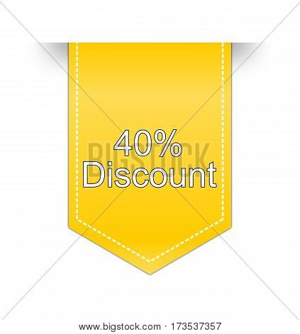 yellow, 40% Discount Label on white background  - illustration
