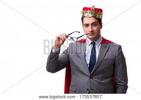 King businessman wearing red cover on white