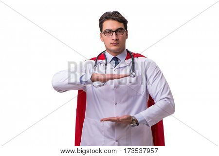 Super hero doctor isolated on white