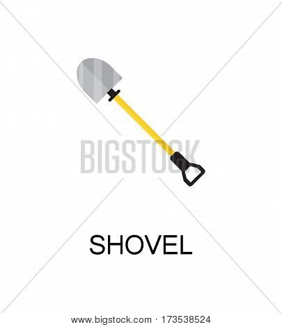 Shovel flat icon. Single high quality color element for web design or mobile app. Isolated symbol on white background. Construction tool flat icon. Bulding tool vector illustration.