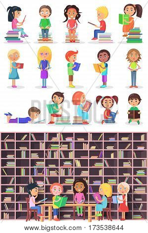 Boys and girls with books. Isolated children and infants in library vector set. Kids study in atheneum. Clever young people read books. School Children education. Public room with bookshelves. Vector
