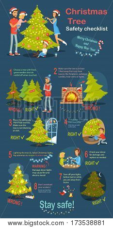 Christmas tree safety cheklist. Merry Christmas and happy New Year. Instructions how to deel with xmas tree. Practical guide to safety. Check again any damages that may have occur. Vector illustration
