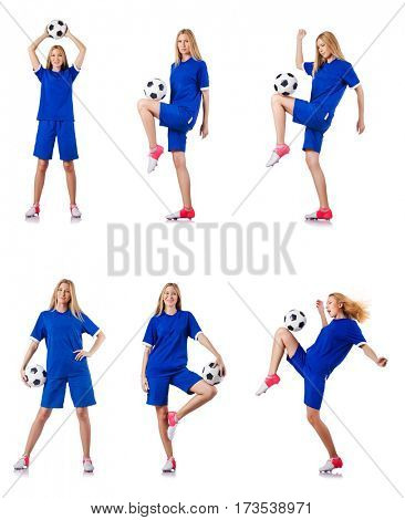 Woman playing football on white