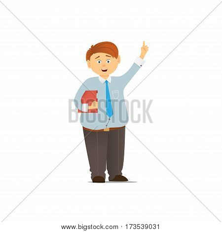 The young man in a tie. The accountant with the folder in a hand