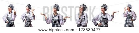 Woman chef in collages on white