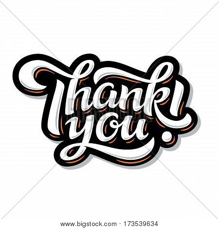 Thank You lettering. Hand drawn vector calligraphy