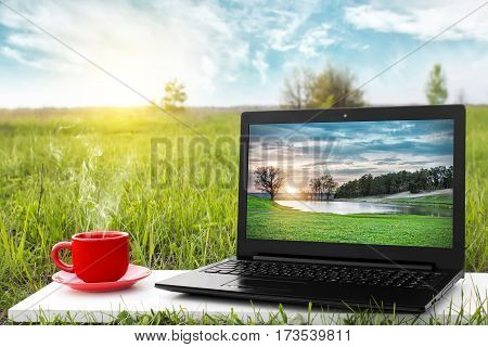 Laptop and cup of hot coffee on the background picturesque nature, outdoor office. Travel concept. Business ideas. Choice of travel. The rest of nature.