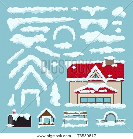 Set of Isolated snow cap. Winter house decoration. Snowy elements on blue background. Editable ice snowflake snowy decoration elements in cartoon style for design. Frozen effect. Vector illustration