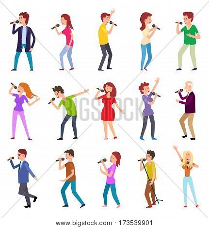 Singing characters isolated on white. Man and woman entertain by singing. Famous pop singers. Karaoke concept. People set with microphones. Popular rock singer singing songs. Vector illustration
