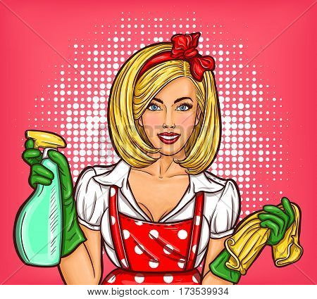Vector pop art illustration of a young beautiful girl holds in hands cleaner. Pop art poster advertising a cleaning service with a housewife in the foreground, high-quality house cleaning.