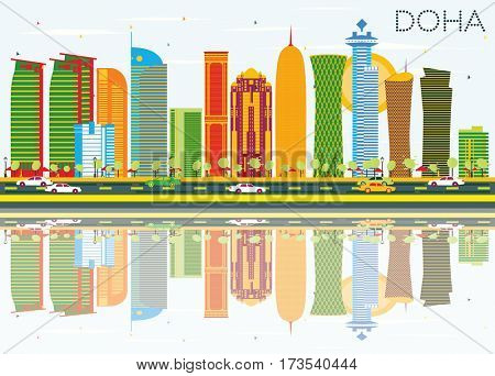 Doha Skyline with Color Buildings, Blue Sky and Reflections. Business Travel and Tourism Concept. Image for Presentation Banner Placard and Web Site.