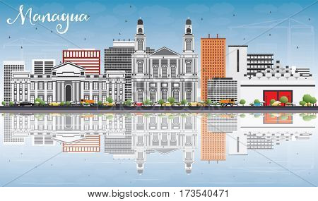 Managua Skyline with Gray Buildings, Blue Sky and Reflections. Business Travel and Tourism Concept with Modern Architecture. Image for Presentation Banner Placard and Web Site.