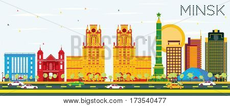 Minsk Skyline with Color Buildings and Blue Sky. Business Travel and Tourism Concept. Image for Presentation Banner Placard and Web Site.