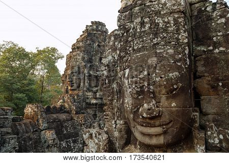 Mysterious Smiling faces of Bayon temple in Cambodia, Siem Reap