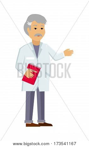 Doctor or scientist character icon. Man in white coat with notepad in hands flat vector illustration isolated on white. Therapist or laboratory assistant. For medical, healthcare, scientific concept
