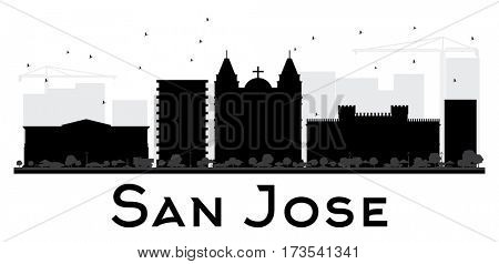 San Jose City skyline black and white silhouette. Simple flat concept for tourism presentation, banner, placard or web site. Cityscape with landmarks
