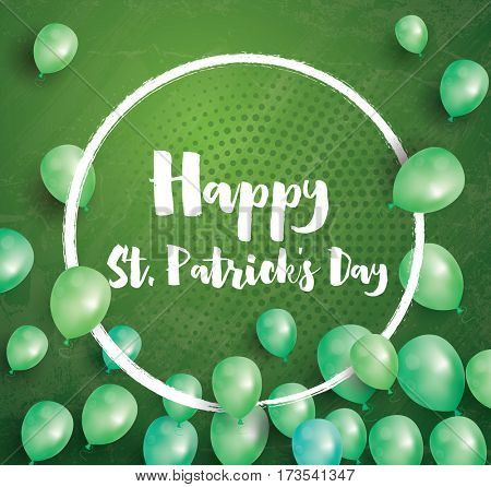 Happy St. Patrick's Day Card with Flying Balloons and White Frame.