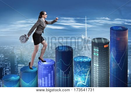 Businesswoman rushing with clock on bar charts