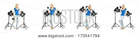 Woman during photo photosession on white