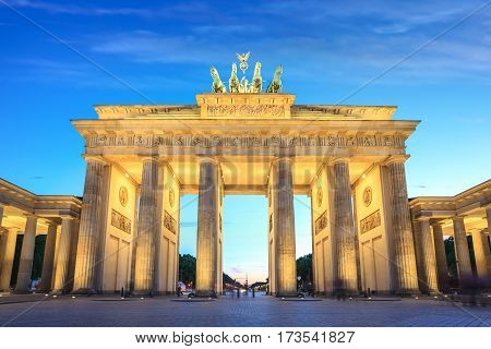 The famous Brandenburg Gate at night, Berlin, Germany