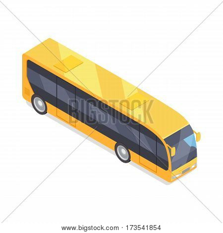 City bus isometric projection icon. Yellow autobus vector illustration isolated on white background. Public transport. For game environment, traffic infographics, logo, web design