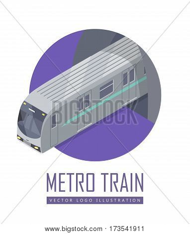 Speed train isometric projection icon. Modern locomotive with wagon leaving tunnel vector illustration isolated on white background. For game environment, transport infographics, logo, web design
