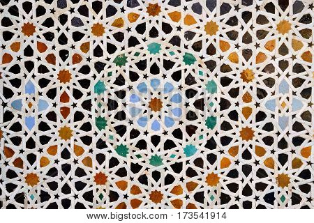Islamic mosaic Moroccan style on the wall Fez Morocco